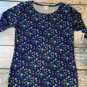 Lularoe Julia Dress Body Con Blue Floral NWT Sz M